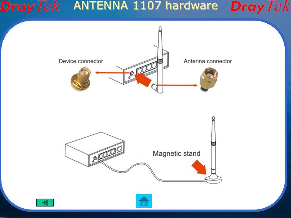 ANTENNA Wireless 1107 Caratteristiche 2.4G Per interno Frequenza 2.4~2.5 GHz Guadagno 7dBi Polarizzazione verticale Potenza 2W Connettore Reverse SMA