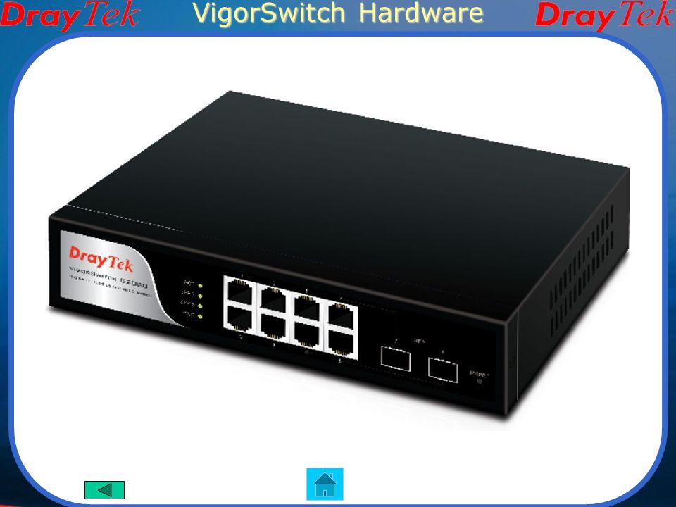 VigorSwitch G2080 Funzioni Principali 8 porte Gigabit Supporta layer4 QoS VLAN Aggregazione della banda Controllo di accesso 802.1x Controllo broadcast/multicast Interfaccia Hardware 8 porte RJ-45 10/100/1000Mbps 2 moduli slot SFP per fibra 1 porta console 1 pulsante di reset Immagine del prodotto