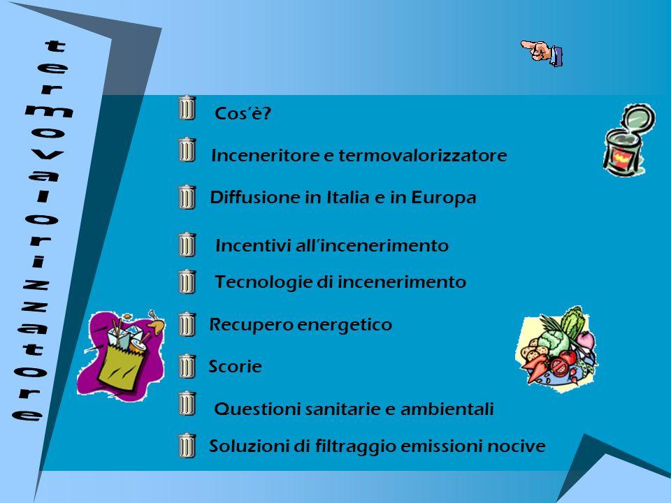 Cosè? Inceneritore e termovalorizzatore Diffusione in Italia e in Europa Incentivi allincenerimento Tecnologie di incenerimento Recupero energetico Sc