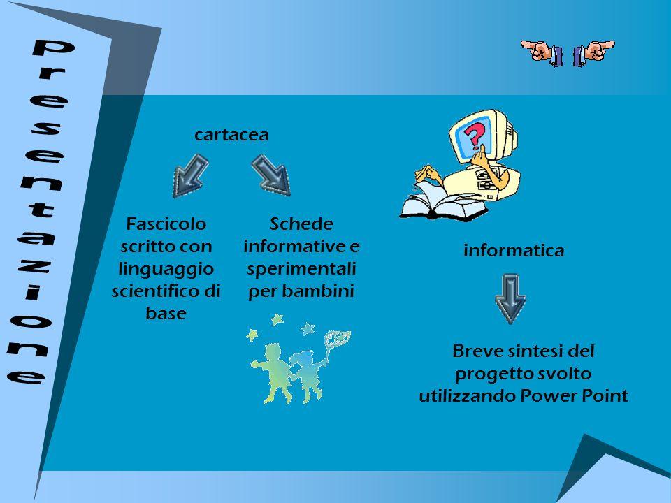 cartacea informatica Fascicolo scritto con linguaggio scientifico di base Schede informative e sperimentali per bambini Breve sintesi del progetto svo