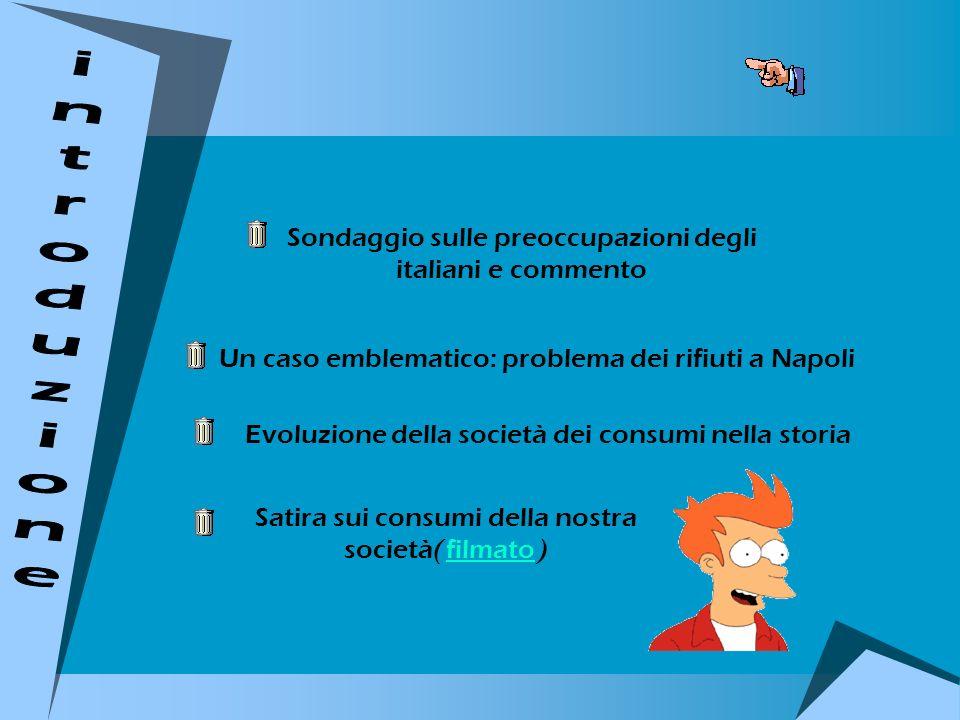 Sondaggio sulle preoccupazioni degli italiani e commento Un caso emblematico: problema dei rifiuti a Napoli Evoluzione della società dei consumi nella