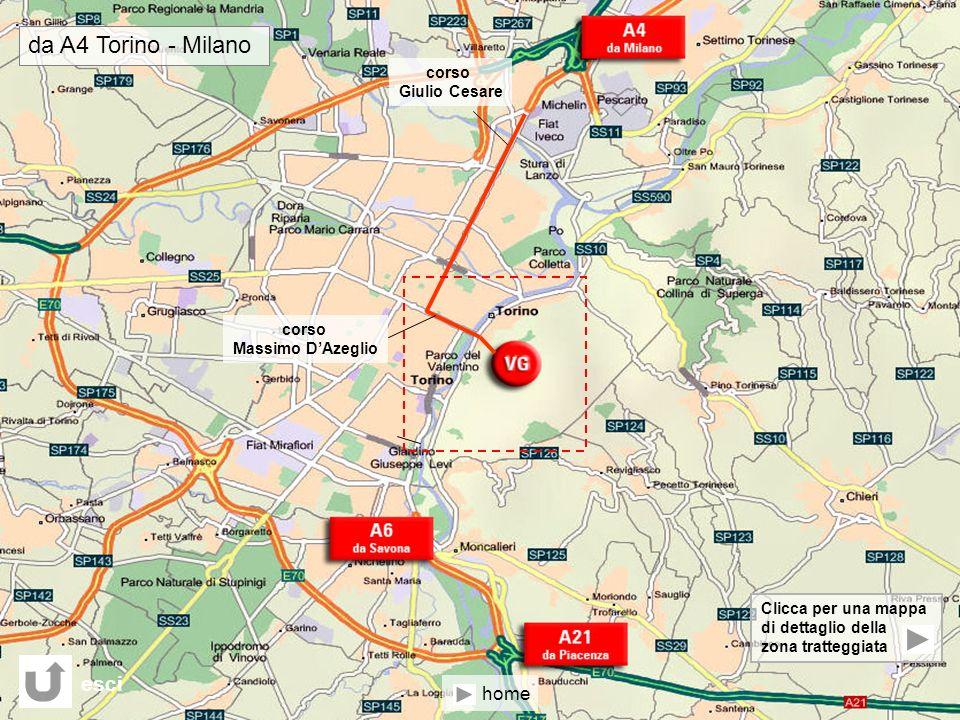 Clicca per una mappa di dettaglio della zona tratteggiata corso Giulio Cesare corso Massimo DAzeglio da A4 Torino - Milano esci home