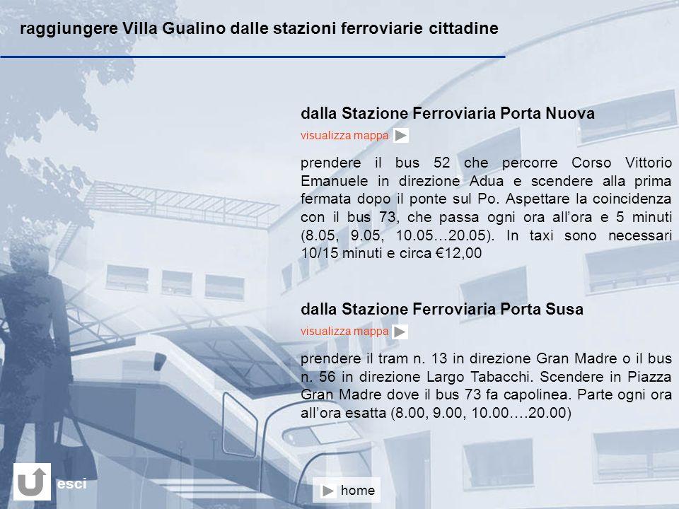 raggiungere Villa Gualino dalle stazioni ferroviarie cittadine dalla Stazione Ferroviaria Porta Nuova visualizza mappa prendere il bus 52 che percorre Corso Vittorio Emanuele in direzione Adua e scendere alla prima fermata dopo il ponte sul Po.