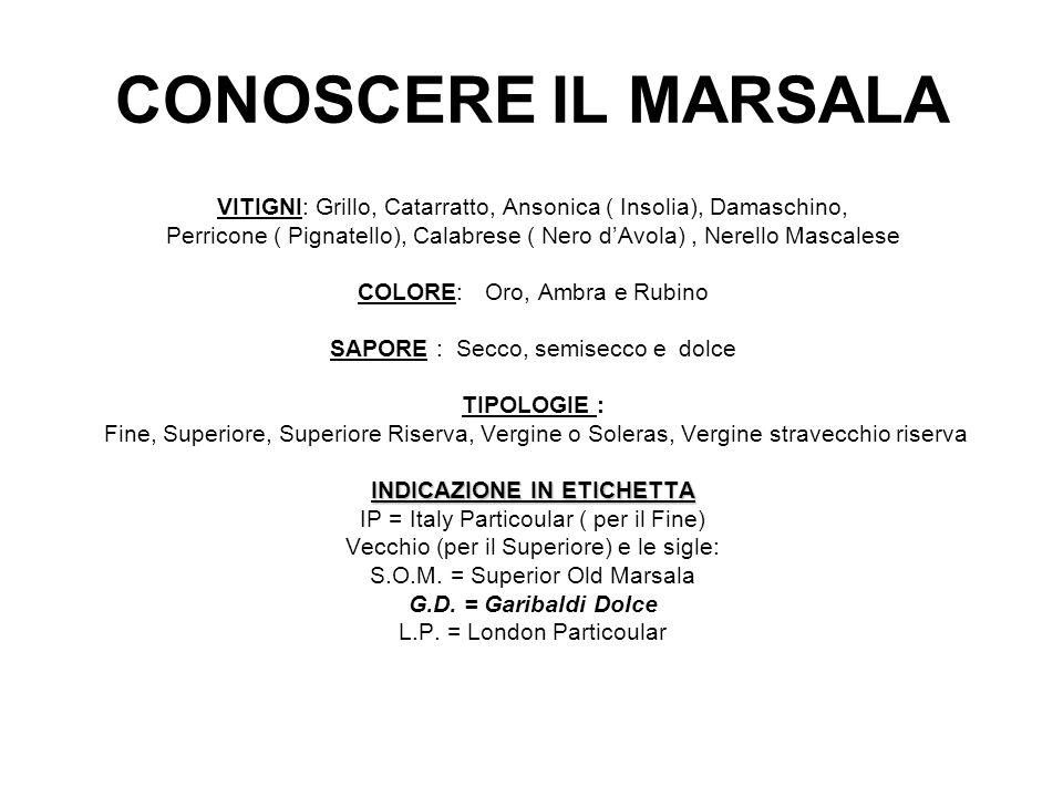 CONOSCERE IL MARSALA VITIGNI: Grillo, Catarratto, Ansonica ( Insolia), Damaschino, Perricone ( Pignatello), Calabrese ( Nero dAvola), Nerello Mascales