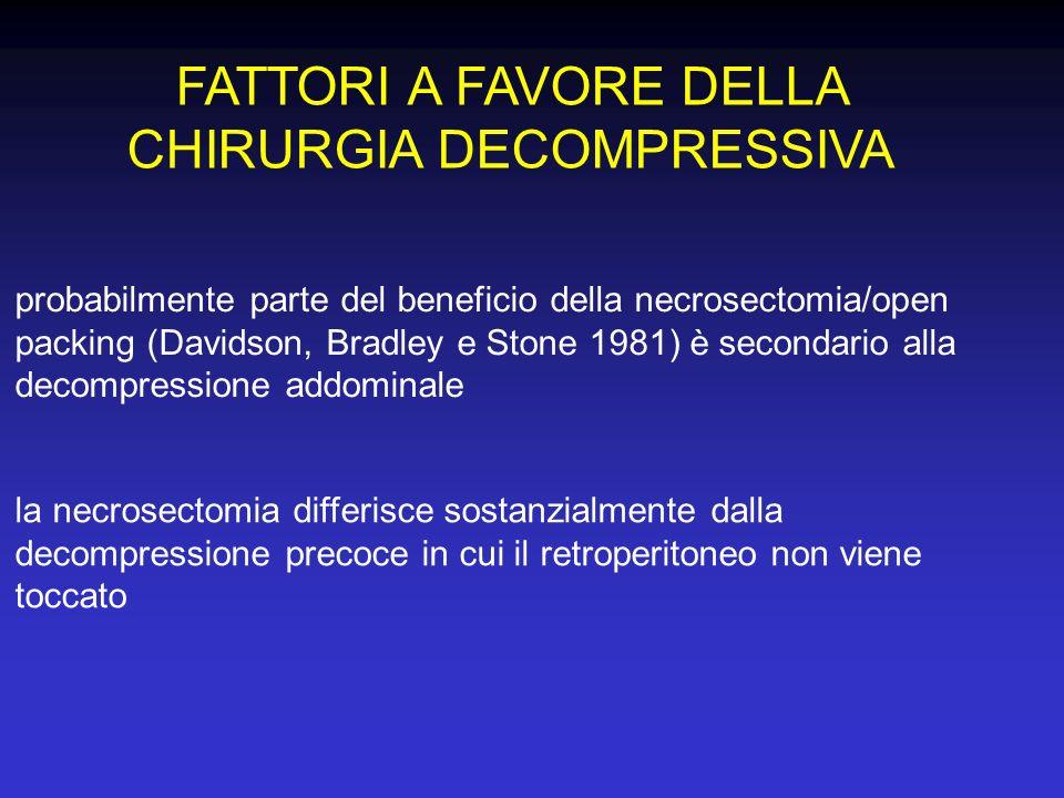 FATTORI A FAVORE DELLA CHIRURGIA DECOMPRESSIVA la necrosectomia differisce sostanzialmente dalla decompressione precoce in cui il retroperitoneo non v