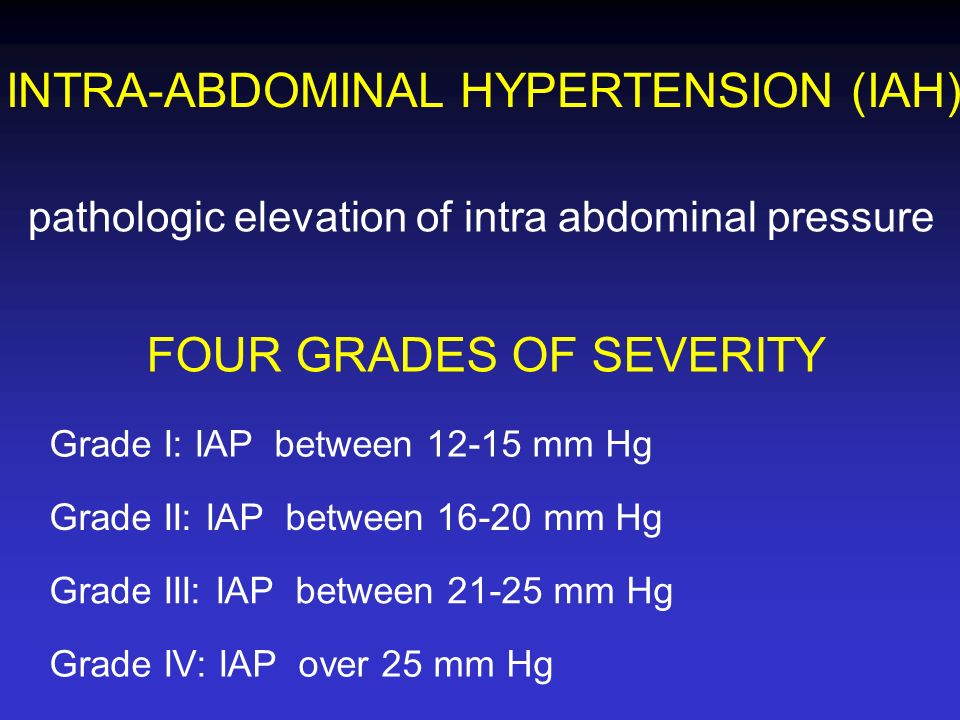 INTRA-ABDOMINAL HYPERTENSION (IAH) pathologic elevation of intra abdominal pressure FOUR GRADES OF SEVERITY Grade I: IAP between 12-15 mm Hg Grade II: