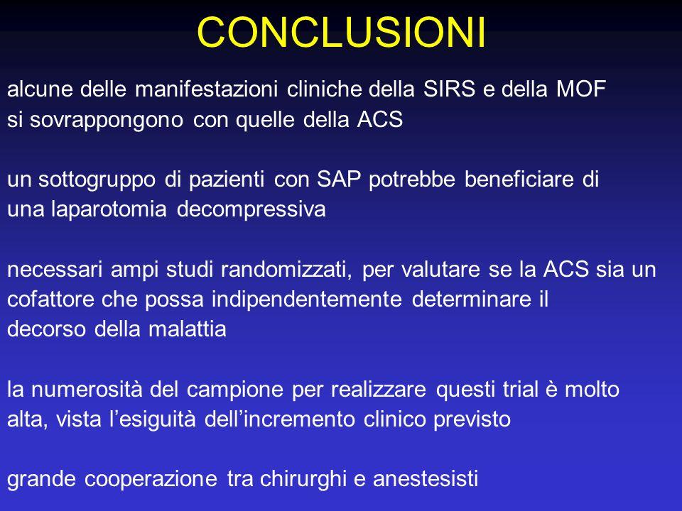 CONCLUSIONI alcune delle manifestazioni cliniche della SIRS e della MOF si sovrappongono con quelle della ACS un sottogruppo di pazienti con SAP potre