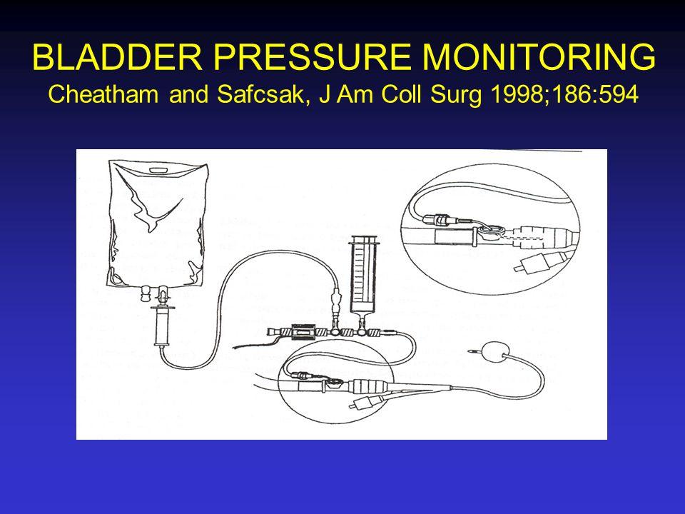 BLADDER PRESSURE MONITORING Cheatham and Safcsak, J Am Coll Surg 1998;186:594