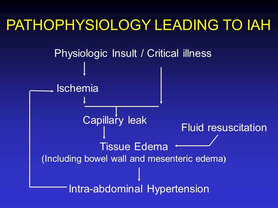 Physiologic Insult / Critical illness Ischemia Capillary leak Fluid resuscitation Tissue Edema (Including bowel wall and mesenteric edema ) Intra-abdo