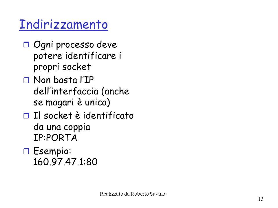 Realizzato da Roberto Savino: 13 Indirizzamento r Ogni processo deve potere identificare i propri socket r Non basta lIP dellinterfaccia (anche se magari è unica) r Il socket è identificato da una coppia IP:PORTA r Esempio: 160.97.47.1:80
