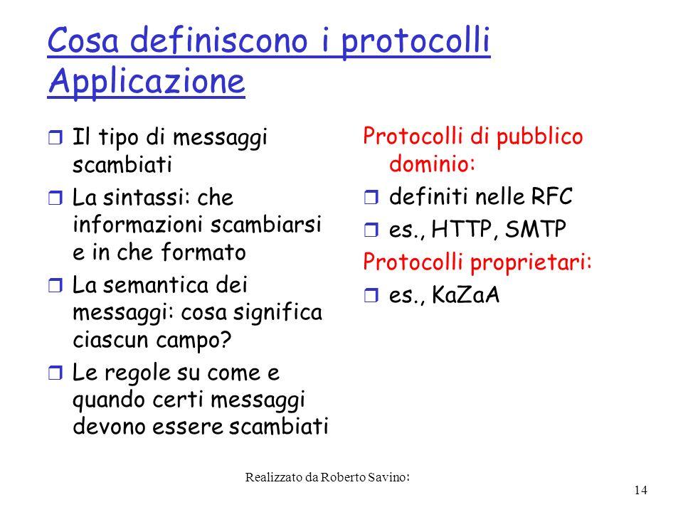 Realizzato da Roberto Savino: 14 Cosa definiscono i protocolli Applicazione r Il tipo di messaggi scambiati r La sintassi: che informazioni scambiarsi e in che formato r La semantica dei messaggi: cosa significa ciascun campo.