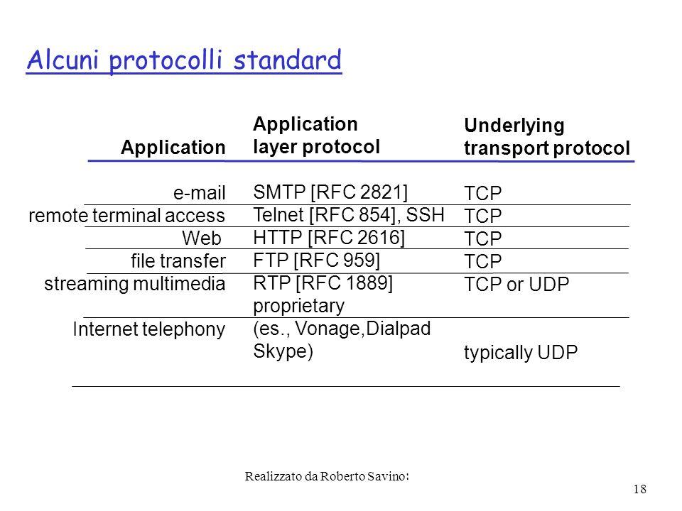 Realizzato da Roberto Savino: 18 Alcuni protocolli standard Application e-mail remote terminal access Web file transfer streaming multimedia Internet telephony Application layer protocol SMTP [RFC 2821] Telnet [RFC 854], SSH HTTP [RFC 2616] FTP [RFC 959] RTP [RFC 1889] proprietary (es., Vonage,Dialpad Skype) Underlying transport protocol TCP TCP or UDP typically UDP