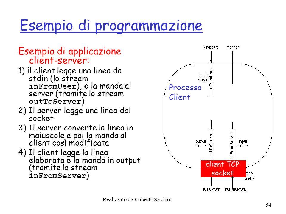 Realizzato da Roberto Savino: 34 Esempio di programmazione Esempio di applicazione client-server: 1) il client legge una linea da stdin (lo stream inFromUser ), e la manda al server (tramite lo stream outToServer ) 2) Il server legge una linea dal socket 3) Il server converte la linea in maiuscole e poi la manda al client così modificata 4) Il client legge la linea elaborata e la manda in output (tramite lo stream inFromServer ) Processo Client client TCP socket