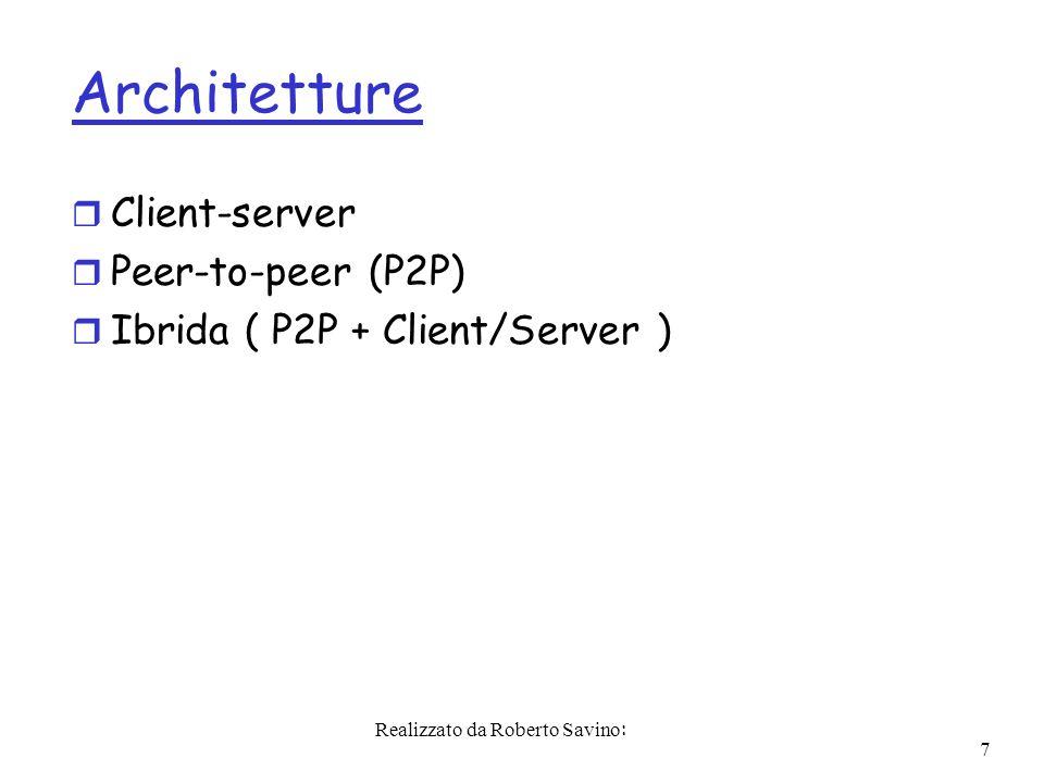 Realizzato da Roberto Savino: 7 Architetture r Client-server r Peer-to-peer (P2P) r Ibrida ( P2P + Client/Server )