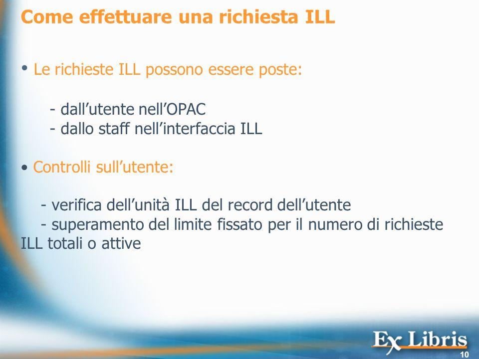 10 Come effettuare una richiesta ILL Le richieste ILL possono essere poste: - dallutente nellOPAC - dallo staff nellinterfaccia ILL Controlli sullutente: - verifica dellunità ILL del record dellutente - superamento del limite fissato per il numero di richieste ILL totali o attive