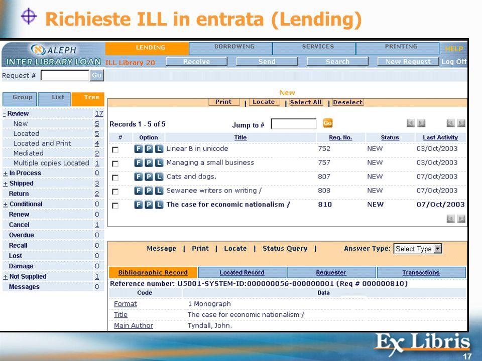17 Richieste ILL in entrata (Lending) 1 2 3