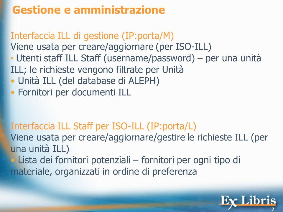 7 Gestione e amministrazione Interfaccia ILL di gestione (IP:porta/M) Viene usata per creare/aggiornare (per ISO-ILL) Utenti staff ILL Staff (username/password) – per una unità ILL; le richieste vengono filtrate per Unità Unità ILL (del database di ALEPH) Fornitori per documenti ILL Interfaccia ILL Staff per ISO-ILL (IP:porta/L) Viene usata per creare/aggiornare/gestire le richieste ILL (per una unità ILL) Lista dei fornitori potenziali – fornitori per ogni tipo di materiale, organizzati in ordine di preferenza
