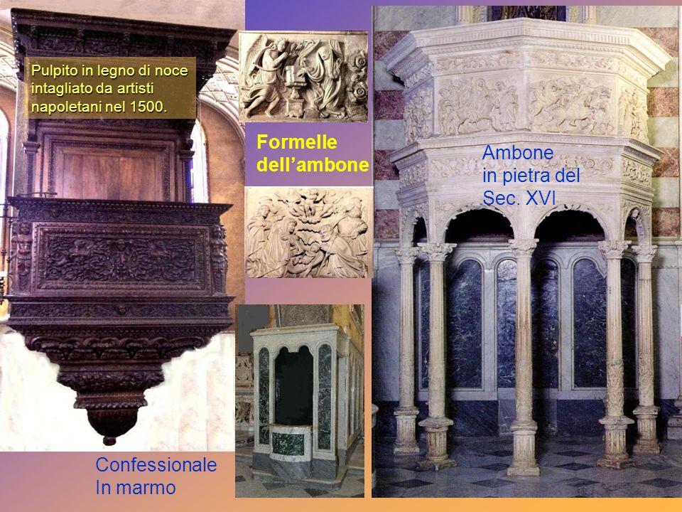 Pulpito in legno di noce intagliato da artisti napoletani nel 1500.