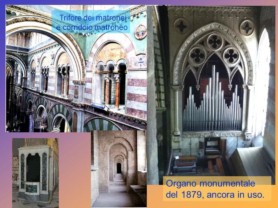 Organo monumentale del 1879, ancora in uso. Trifore dei matronei e corridoio matroneo
