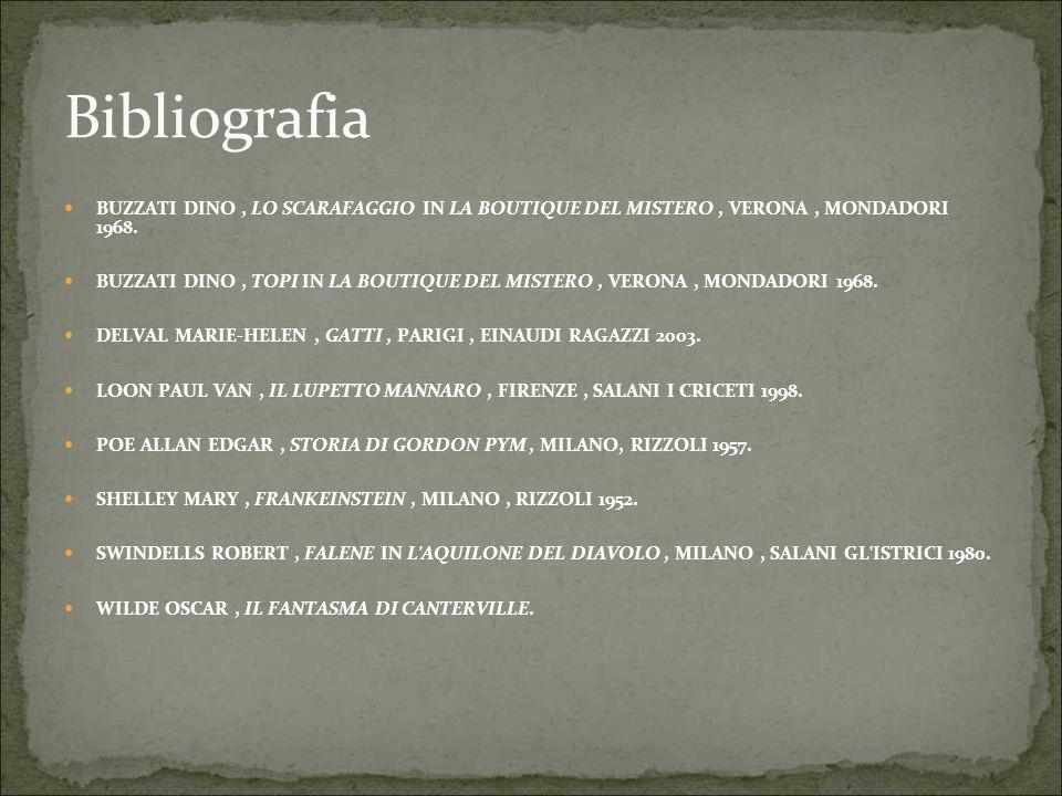 Bibliografia BUZZATI DINO, LO SCARAFAGGIO IN LA BOUTIQUE DEL MISTERO, VERONA, MONDADORI 1968. BUZZATI DINO, TOPI IN LA BOUTIQUE DEL MISTERO, VERONA, M