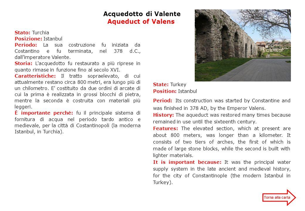 Acquedotto di Valente Aqueduct of Valens Stato: Turchia Posizione: Istanbul Periodo: La sua costruzione fu iniziata da Costantino e fu terminata, nel