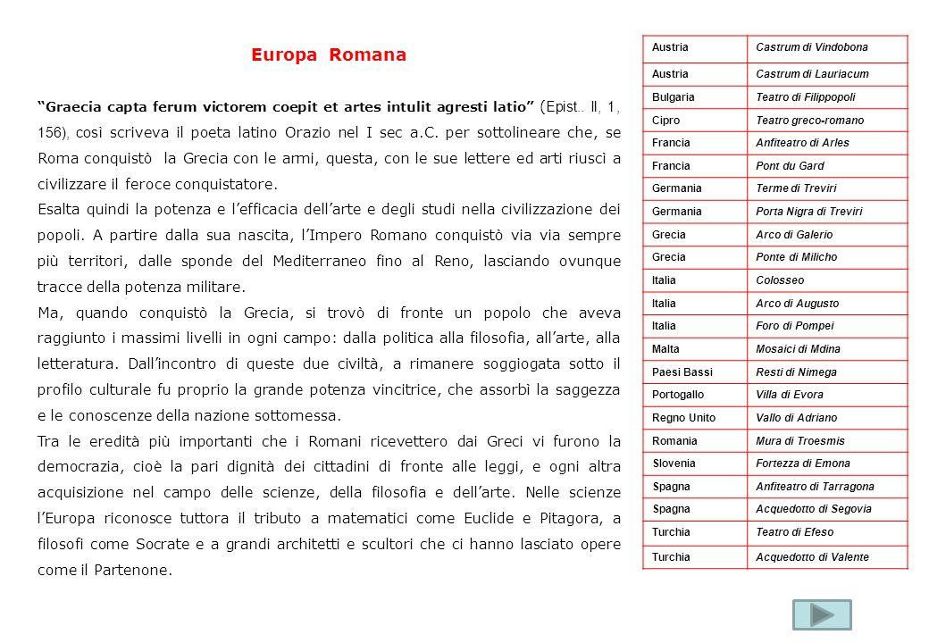Europa Romana Graecia capta ferum victorem coepit et artes intulit agresti latio ( Epist.. Il, 1, 156), così scriveva il poeta latino Orazio nel I sec