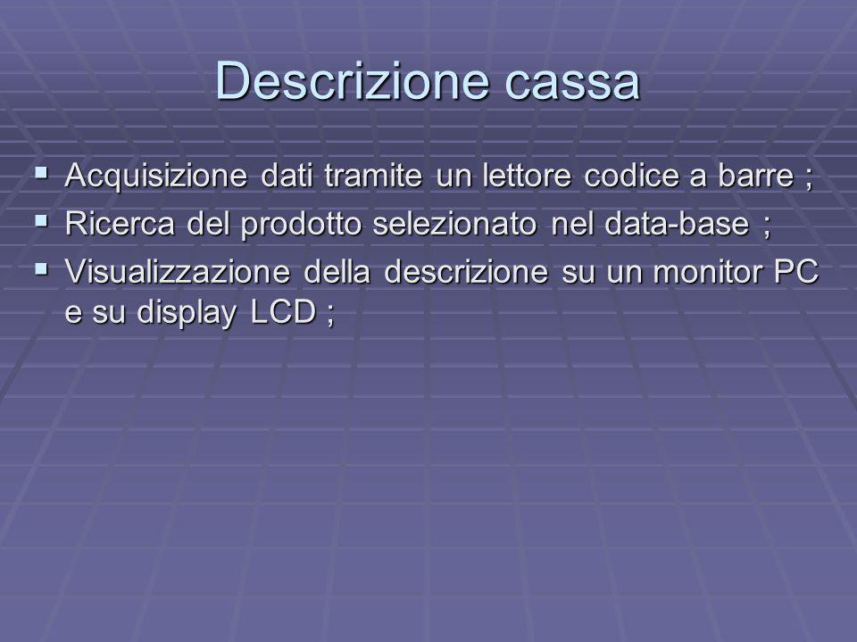 Descrizione cassa Acquisizione dati tramite un lettore codice a barre ; Acquisizione dati tramite un lettore codice a barre ; Ricerca del prodotto sel