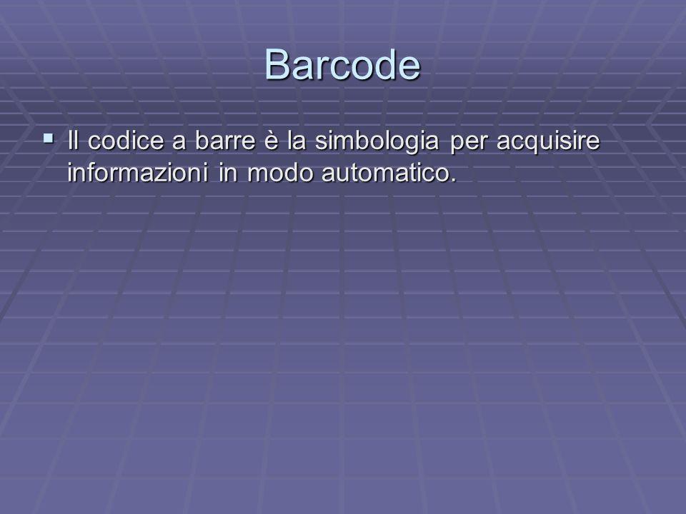 Barcode Il codice a barre è la simbologia per acquisire informazioni in modo automatico. Il codice a barre è la simbologia per acquisire informazioni