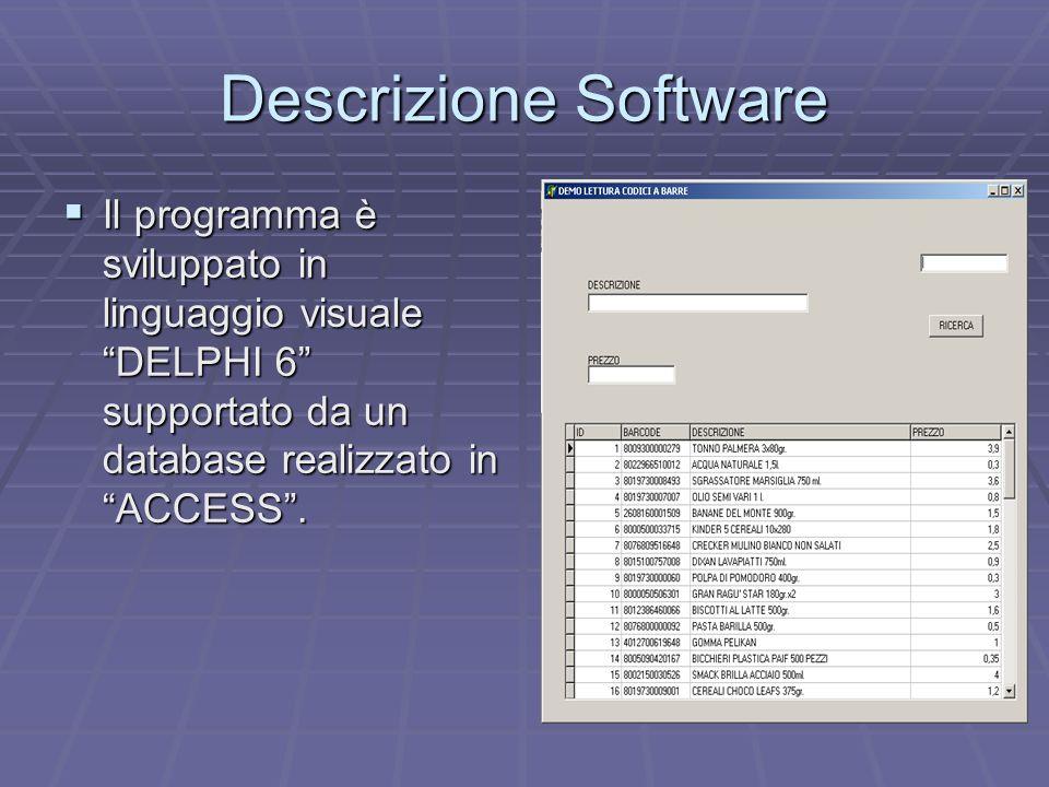 Descrizione Software Il programma è sviluppato in linguaggio visuale DELPHI 6 supportato da un database realizzato in ACCESS. Il programma è sviluppat
