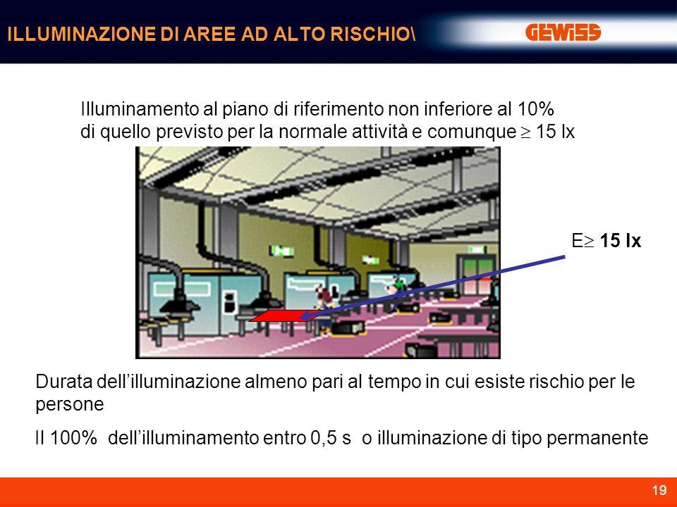 19 ILLUMINAZIONE DI AREE AD ALTO RISCHIO\ Illuminamento al piano di riferimento non inferiore al 10% di quello previsto per la normale attività e comu