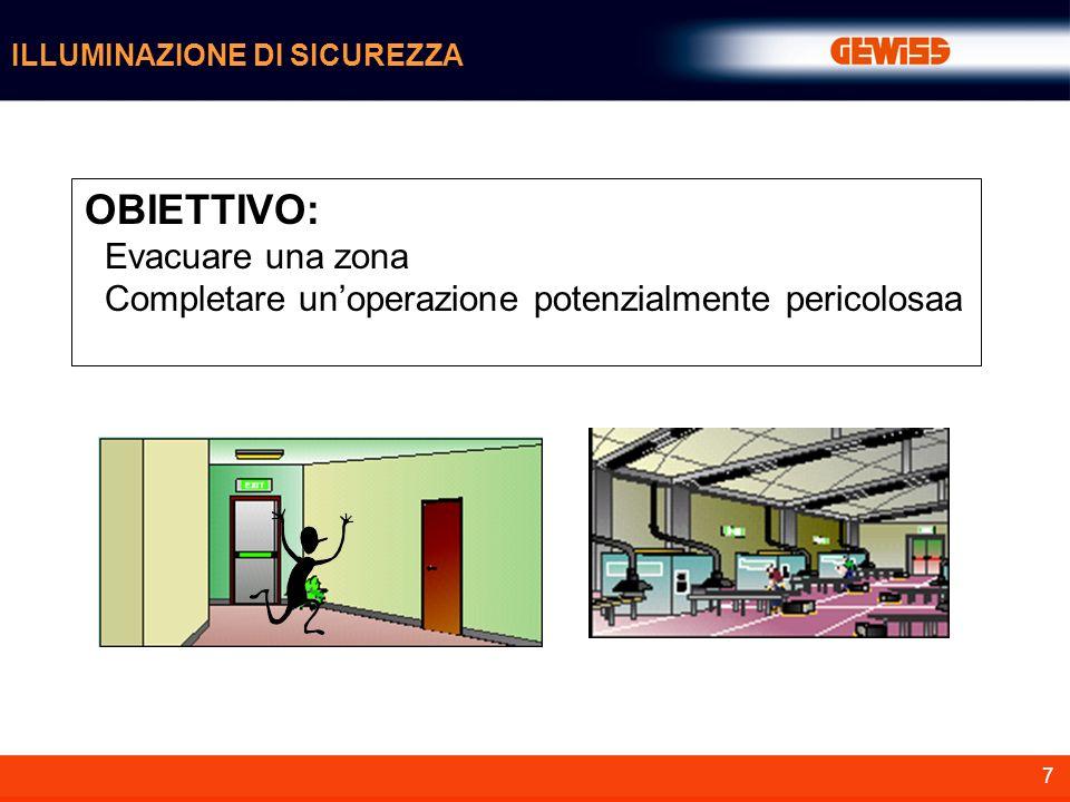 7 ILLUMINAZIONE DI SICUREZZA OBIETTIVO: Evacuare una zona Completare unoperazione potenzialmente pericolosaa