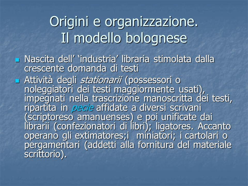 Origini e organizzazione. Il modello bolognese Nascita dell industria libraria stimolata dalla crescente domanda di testi Nascita dell industria libra