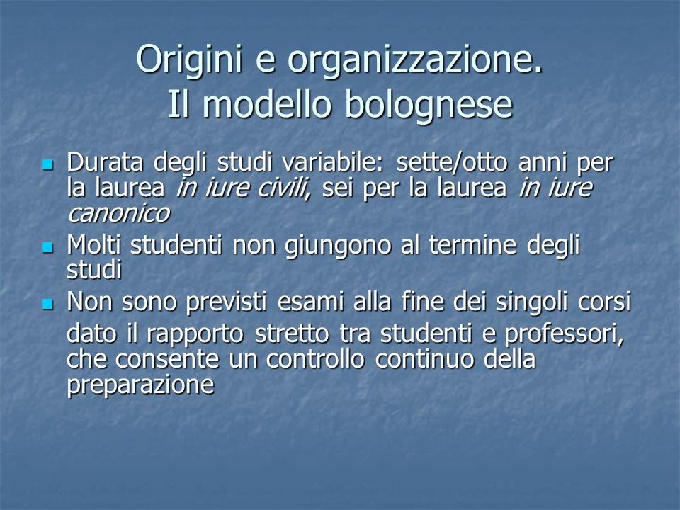 Origini e organizzazione. Il modello bolognese Durata degli studi variabile: sette/otto anni per la laurea in iure civili, sei per la laurea in iure c