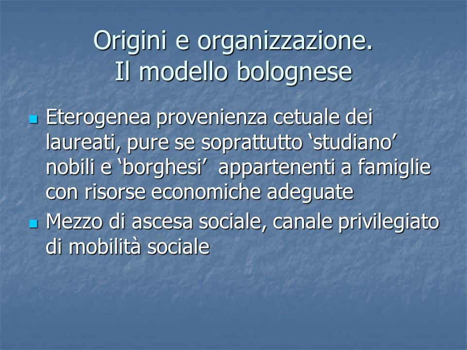 Origini e organizzazione. Il modello bolognese Eterogenea provenienza cetuale dei laureati, pure se soprattutto studiano nobili e borghesi appartenent