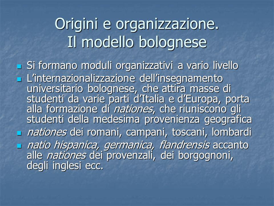 Origini e organizzazione. Il modello bolognese Si formano moduli organizzativi a vario livello Si formano moduli organizzativi a vario livello Lintern