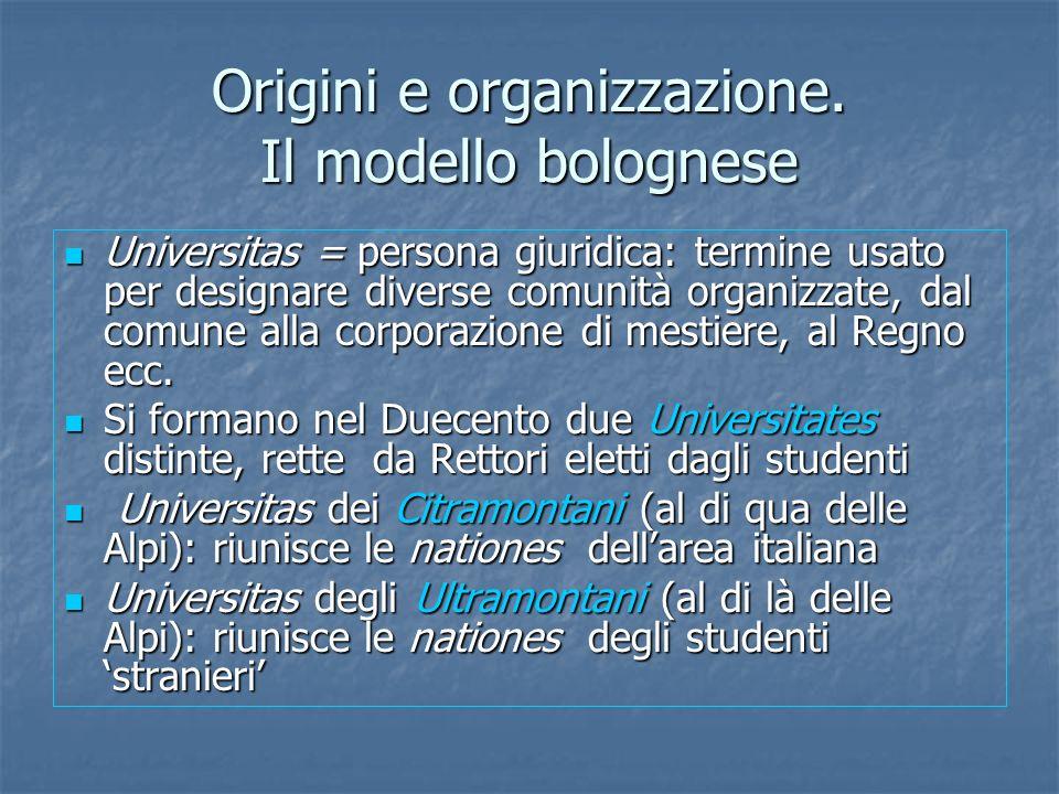 Origini e organizzazione. Il modello bolognese Universitas = persona giuridica: termine usato per designare diverse comunità organizzate, dal comune a