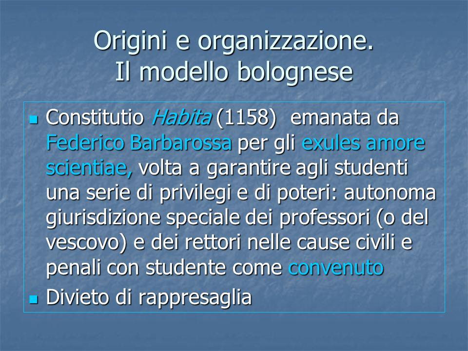 Origini e organizzazione. Il modello bolognese Constitutio Habita (1158) emanata da Federico Barbarossa per gli exules amore scientiae, volta a garant
