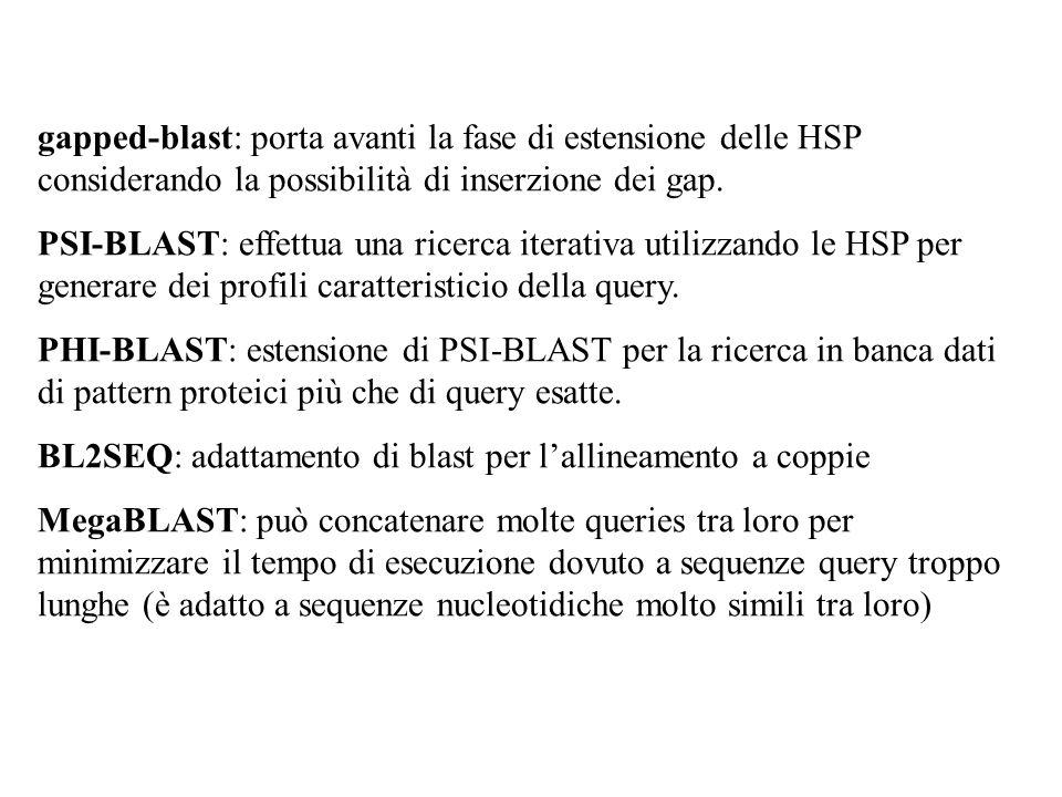 gapped-blast: porta avanti la fase di estensione delle HSP considerando la possibilità di inserzione dei gap. PSI-BLAST: effettua una ricerca iterativ