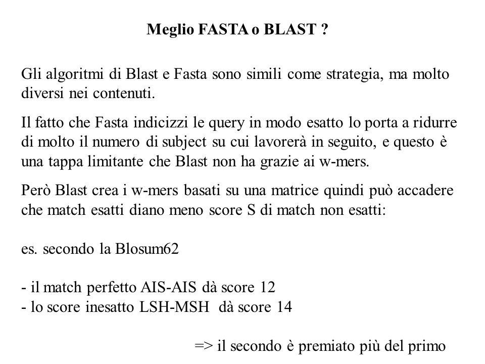 Meglio FASTA o BLAST ? Gli algoritmi di Blast e Fasta sono simili come strategia, ma molto diversi nei contenuti. Il fatto che Fasta indicizzi le quer