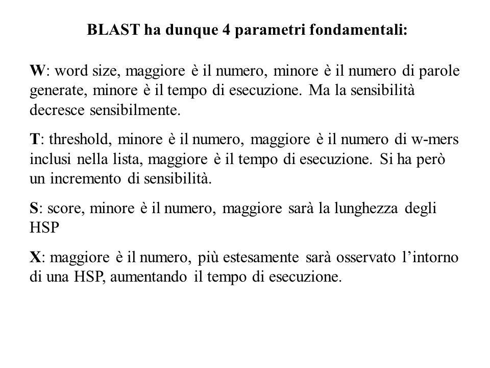 BLAST ha dunque 4 parametri fondamentali: W: word size, maggiore è il numero, minore è il numero di parole generate, minore è il tempo di esecuzione.