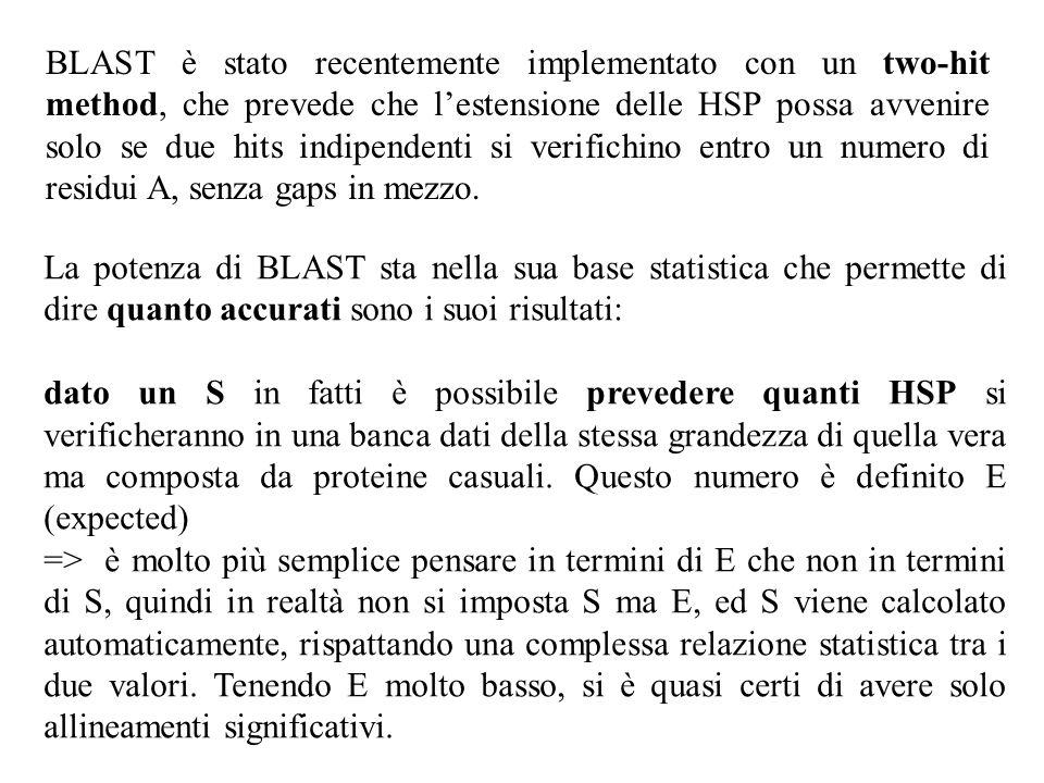 BLAST è stato recentemente implementato con un two-hit method, che prevede che lestensione delle HSP possa avvenire solo se due hits indipendenti si v