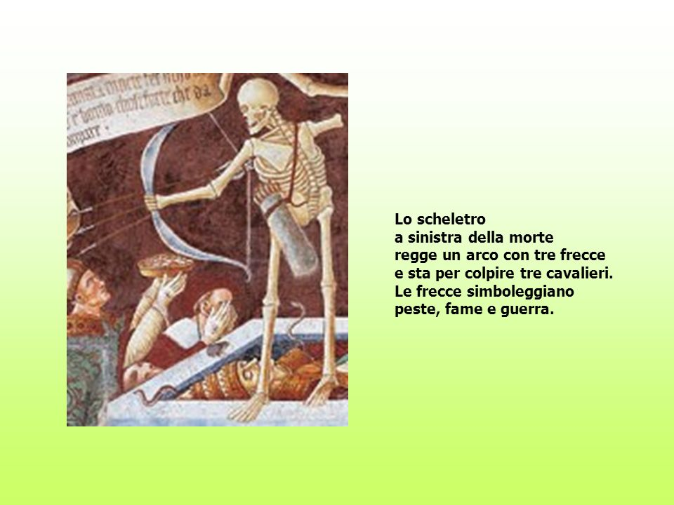 Lo scheletro a sinistra della morte regge un arco con tre frecce e sta per colpire tre cavalieri. Le frecce simboleggiano peste, fame e guerra.