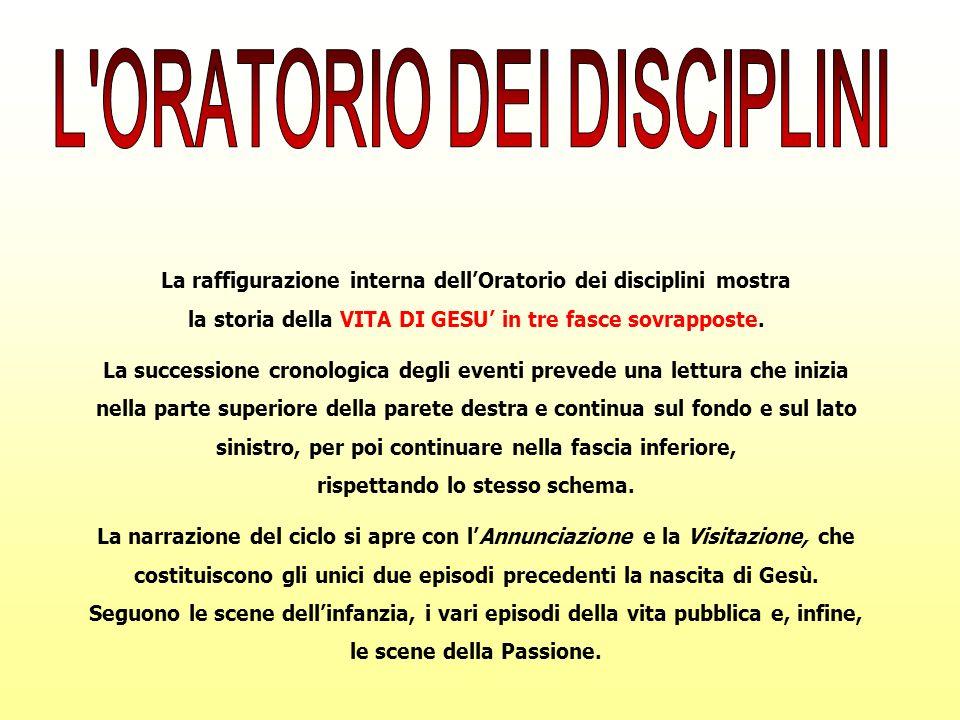 La raffigurazione interna dellOratorio dei disciplini mostra la storia della VITA DI GESU in tre fasce sovrapposte. La successione cronologica degli e