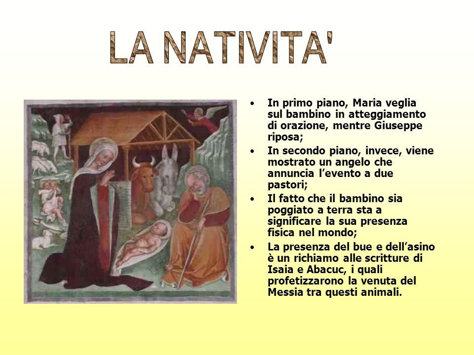 In primo piano, Maria veglia sul bambino in atteggiamento di orazione, mentre Giuseppe riposa; In secondo piano, invece, viene mostrato un angelo che