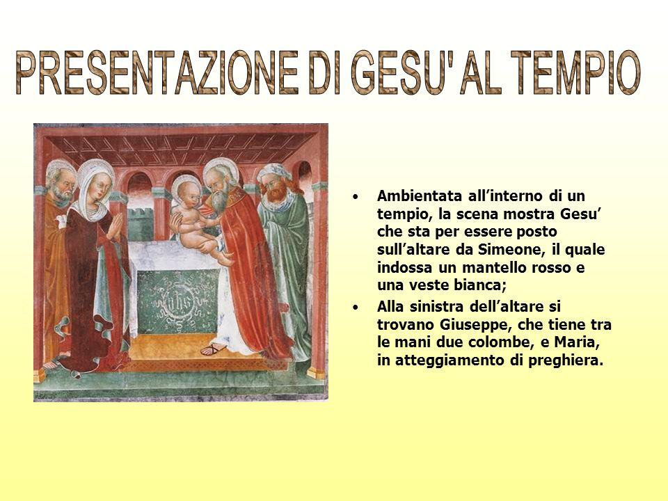 Ambientata allinterno di un tempio, la scena mostra Gesu che sta per essere posto sullaltare da Simeone, il quale indossa un mantello rosso e una vest