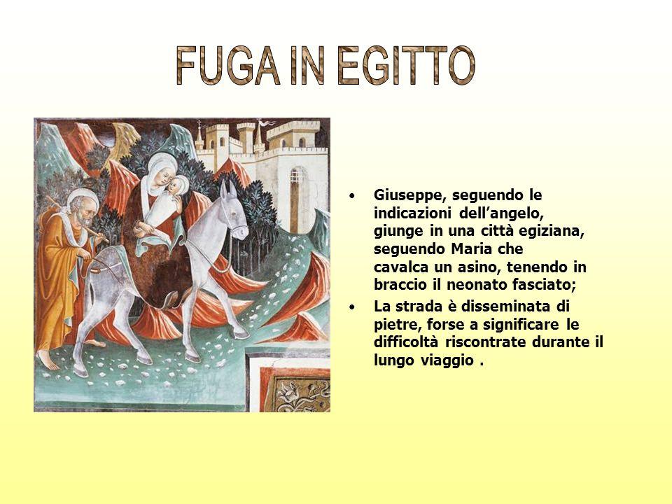 Giuseppe, seguendo le indicazioni dellangelo, giunge in una città egiziana, seguendo Maria che cavalca un asino, tenendo in braccio il neonato fasciat