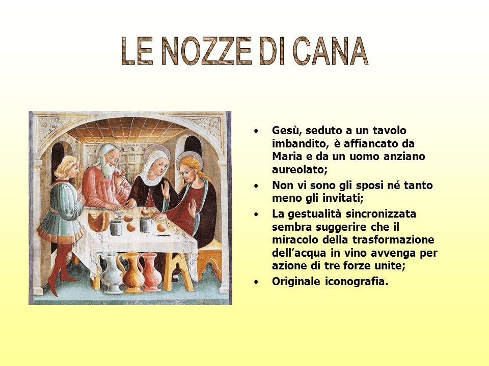 Gesù, seduto a un tavolo imbandito, è affiancato da Maria e da un uomo anziano aureolato; Non vi sono gli sposi né tanto meno gli invitati; La gestual