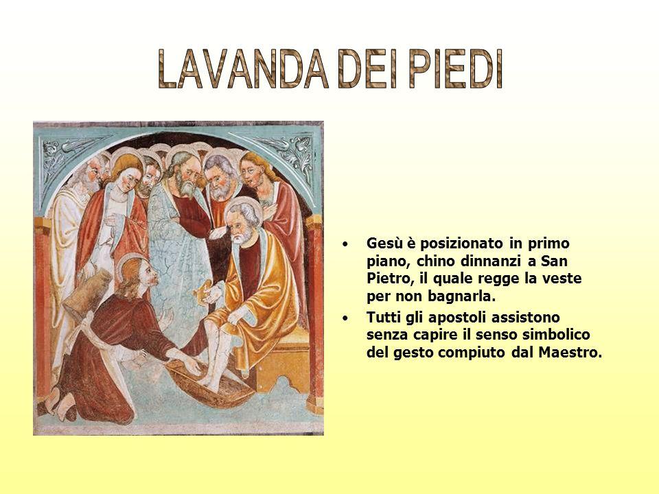 Gesù è posizionato in primo piano, chino dinnanzi a San Pietro, il quale regge la veste per non bagnarla. Tutti gli apostoli assistono senza capire il