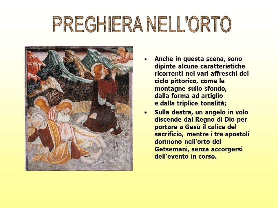 Anche in questa scena, sono dipinte alcune caratteristiche ricorrenti nei vari affreschi del ciclo pittorico, come le montagne sullo sfondo, dalla for