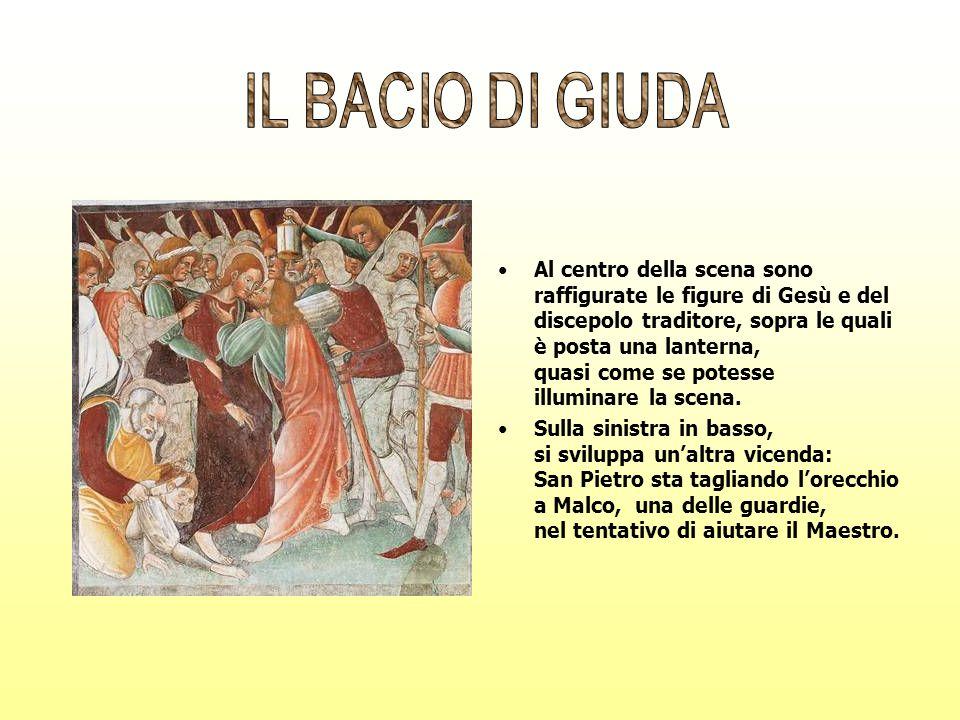 Al centro della scena sono raffigurate le figure di Gesù e del discepolo traditore, sopra le quali è posta una lanterna, quasi come se potesse illumin